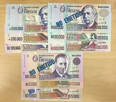 Uruguay Complete Set 1989-1992 All 9 Values Including Never Issued Ones, Unc