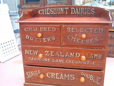 Antique English Advertisng Display Chestnut Cabinet