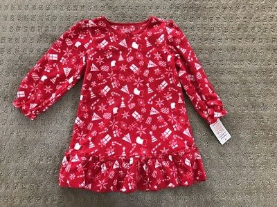 NWT Just One You Red Fleece Christmas Print Nightgown Pajamas 12 Months/2T/3T/4T