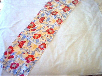 "Vintage long stole scarf red poppies yellow birds blue leaves 46"" by 10 1/2"""