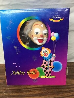 Ashley Belle Porcelain Keepsakes Marionette Clown Doll Hand Crafted New in Box
