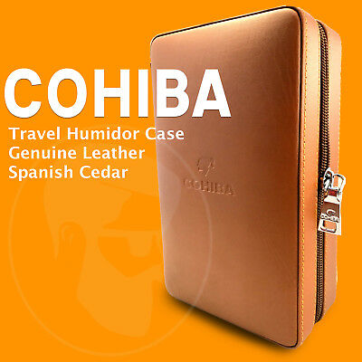 COHIBA Brown Genuin Leather Travel Cigar Case Humidor W/ Lighter & Cigar Cutter