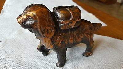 Vintage A.C. Williams 1910 St. Bernard Rescue Dog with Back Pack Cast Iron Bank