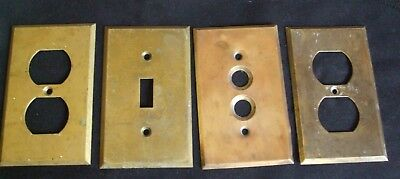 4 ANTIQUE  BRASS COVER PLATES, receptacles , switch & push button covers,