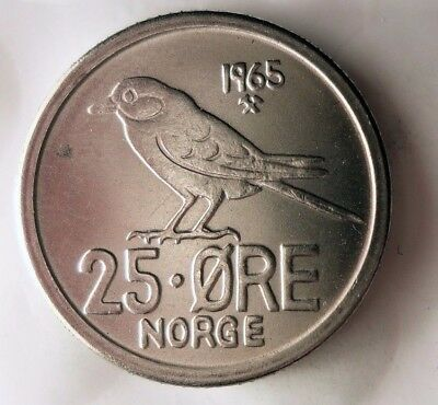 1965 NORWAY 25 ORE - AU/UNC - Strong Value Vintage Scarce Coin - Lot #922