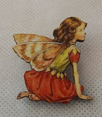 Flower Fairy Brooch or Scarf Pin Red Wood Accessories Fashion NEW Multi-Color