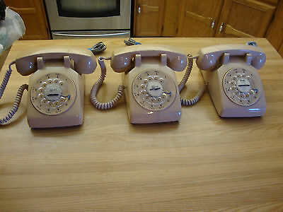 Three Beige 1980, 1981 Vintage Northern Telecom Rotary Telephone Made In Canada