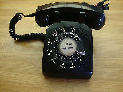 Vintage 1968 Northern Electic Black Rotary Desk Telephone Made In Canada
