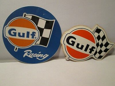 Vintage Gulf Oil Racing Flag Sign Stickers 3""