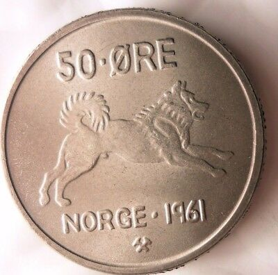 1961 NORWAY 50 ORE - AU/UNC - Strong Value Vintage Scarce Coin - Lot #922