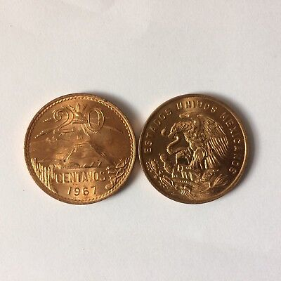 20 Cents Mexican Uncirculated Bronze Coin