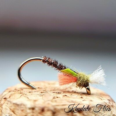 Set of 3 Fly Fishing Flies Black Buzzers size 12 Lightweight Holo Green