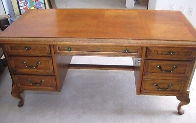 Vintage Bernhardt Flair Division Queen Anne Wood Executive Desk File Cabinet Key