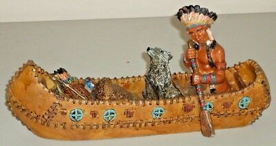 "Native American INDIAN & WOLF DOG in CANOE 9"" resin Figurine home decor"