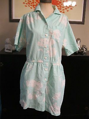 Vintage 80's Romper Jumpsuit Button up Blue w/ White Flowers Sz. M/L