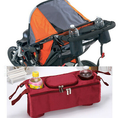 Kid Baby's Stroller Safe Console Tray Pram Hanging Black Bag/Bottle Cup Holder