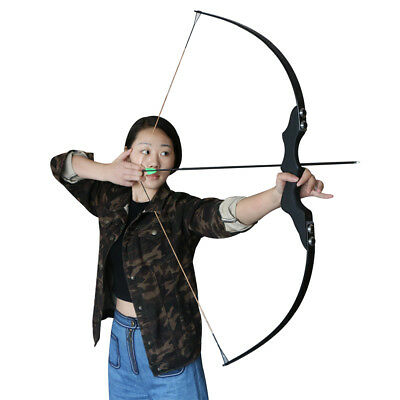 Black Archery Fishing Hunting Right Hand Wooden Straight Bow Recurve Bow Longbow