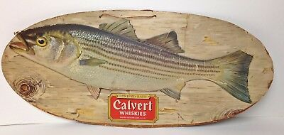 "Calvert Whiskies Striped Bass 20"" Sign vintage fishing whiskey spirits bar fish"