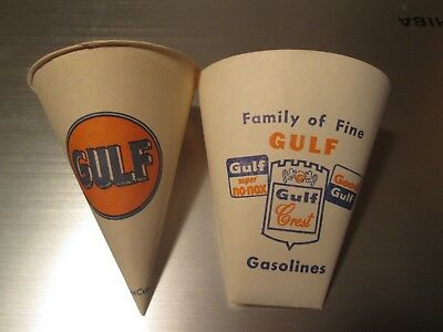 Pair Of Gulf Oil Paper Cups