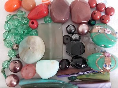 Vintage assortment of 50 glass beads - includes Venetian  (Ref 482)