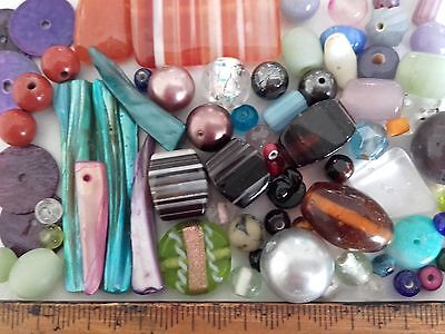 Vintage assortment of 70 glass beads - includes banded agate, shell (Ref 481)