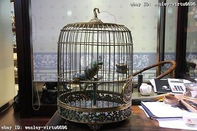 Chinese Imperial palace Copper Cloisonne 24K Gold Gilt Parrot bird cage Birdcage