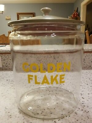 Golden Flake large glass jar chips, cookies, candy