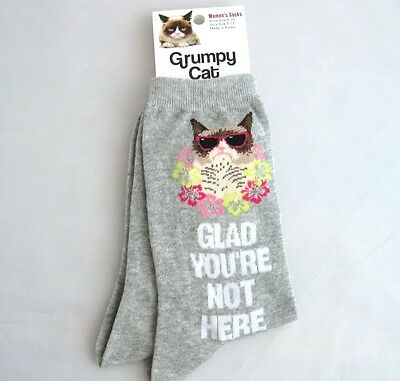 "Grumpy Cat Ladies Crew Socks ""Glad You're Not Here"""