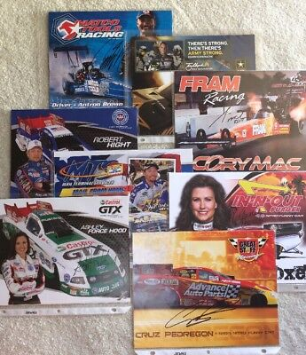 """Lot of Eight - 8"""" x 10"""" Photos & Autographs of Funny Car and Drag Racing Drivers"""