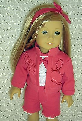 Doll Clothes 4-PC Pink Denim JACKET + Shorts + TOP fits American Girl 18*9Y