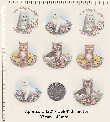 """8 Ceramic decals Decoupage Kittens Cats suit magnets Approx. 1 1/2"""" circle  P30"""