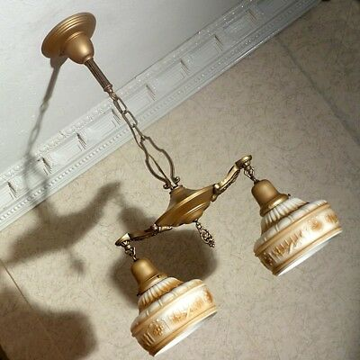 ANTIQUE 1930s vintage CEILING BRASS LIGHT FIXTURE Chandelier w/ Org. GLASS SHADE