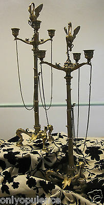 REMARKABLE PAIR OF BRONZE CHARLES X FIGURAL THREE ARM CANDELABRA, FRENCH 20thC