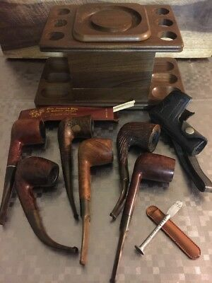 Vintage Estate Tobacco Pipes Lot Of 6,Leather Pipe Holder, Decatur Stand/Storage