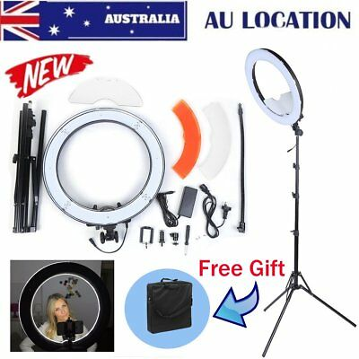 "Dimmable LED Ring Light 18"" 5500K With Diffuser Light Stand Bag For Video Photo!"