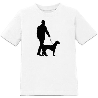 Dog And Master Silhouette Kinder T-Shirt