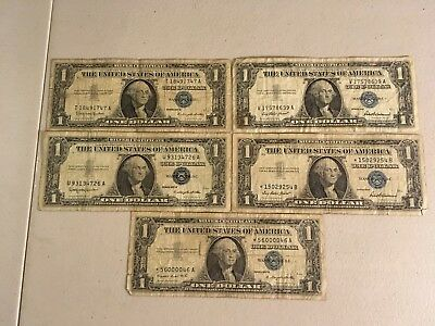 1957 One Dollar Well Circulated Silver Certificate Blue Seal Note