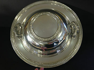 Silver Plate Covered Serving Dish Bowl