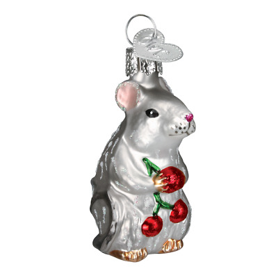"""""""Mouse"""" (Grey) (12196) Old World Christmas Glass Ornament w/ OWC Box"""