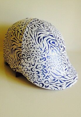 Horse Helmet Cover White With Blue Animal Print Lycra AUSTRALIAN  MADE