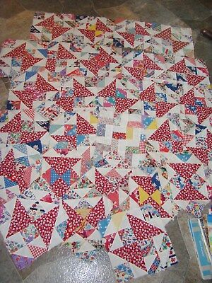 27* Antique Quilt Blocks*20's-30's Fabric & Feedsack* 9 & 1/2 In. By 9 & 1/2 In.
