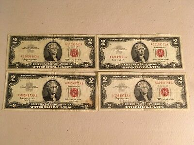 1963 red seal Jefferson 2 dollar bill Nice note!