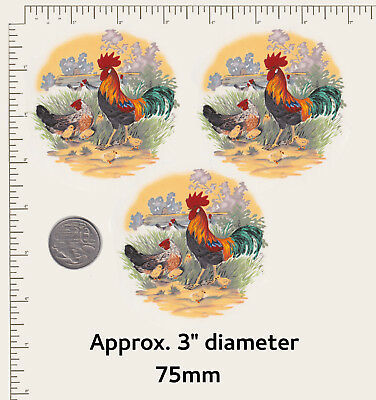 """3 x Waterslide ceramic decals Decoupage Rooster Chickens Farm Birds 3"""" dia. P36"""