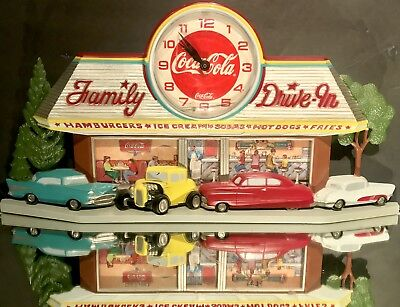Vintage 1988 Coca-Cola Family Drive In Clock Burwood USA 2899 Hot Rods Car