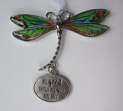 w All Good things are wild and free DELIGHTFUL DRAGONFLY ORNAMENT CAR CHARM Ganz