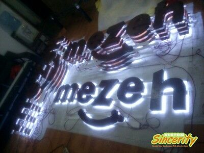 rusted metal halo backlit lighted channel letters commercial signages customized