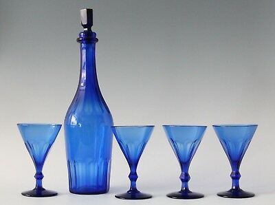 antique early 19th C faceted crystal Cobalt blue Wine Sherry Decanter & 4x Glass
