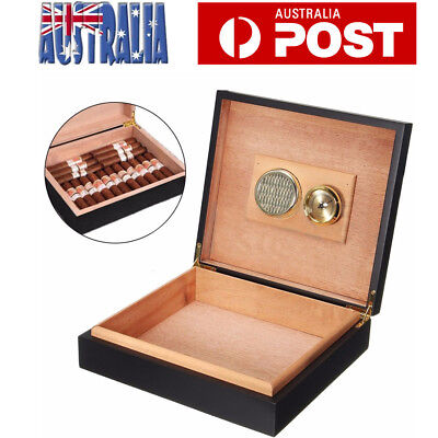 20 Count Cigar Humidor Humidifier with Hygrometer Cedar Wooden Storage Box