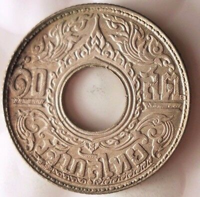 1942 THAILAND 20 SATANG - EXCELLENT Exotic Silver Coin - Lot #923
