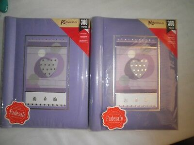 2 x Reminisce Fadesafe 300 Photo's Large Albums*Lilac Modern Hearts & Circles